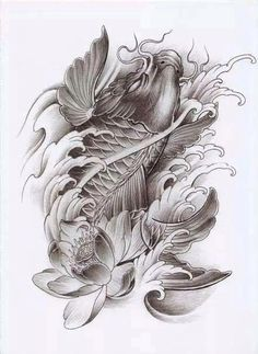 Cbh Koi Dragon Tattoo, Pez Koi Tattoo, Carp Tattoo, Koi Tattoo Design, Chinese Tattoo Designs, Japanese Tattoo Art, Tattoo Drawings, Body Art Tattoos, Sleeve Tattoos