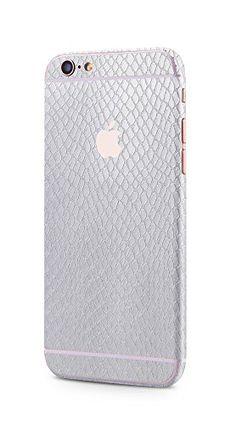 Apple iPhone 6s Plus, iPhone 6 Plus rundum Schutzfolie Sanke Skin Schlangenhaut Optik Glamour Sticker in silber von PhoneStar
