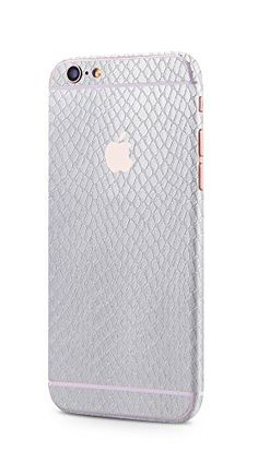 Apple iPhone 6s Plus, iPhone 6 Plus rundum Schutzfolie Sanke Skin Schlangenhaut Optik Glamour Sticker in silber von PhoneStar