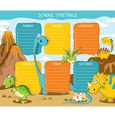 School timetable dinosaurs vector
