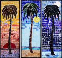 The tropics are captured in this whimsical trio of palms, the first being sunrise with a great red sun rising from the ocean on the horizon. Second is the bright sunshine of a day at the beach and the third is the full moon in a starry sky shimmering on the ocean. All are hand cut stained glass pieces with embellishments of metallic vitreous glass mosaics, mirror, and beads and shells. Several colors of sanded grout finish each piece. Each is framed with a flat black metal frame ready to ...