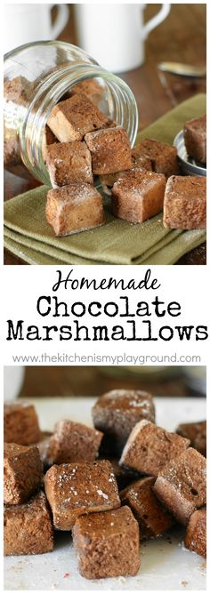 Homemade Chocolate Marshmallows ~ little pillows of chocolate marshmallow deliciousness.  Enjoy in a mugful of hot chocolate, or just as they are for a sweet treat snack.   www.thekitchenismyplayground.com