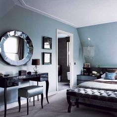 Duck Egg Blue Bedroom Chic London Apartment Room Designs Photo Gallery Housetohome