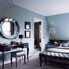 Beautiful Bedroom Mirror Ideas Can Improve Your Bedroom 14 - Modern Duck Egg Blue Bedroom, Blue Bedroom Walls, Bedroom Black, Blue Rooms, Bedroom Colors, Bedroom Ideas, Bedroom Mirrors, Blue Walls, Silver Bedroom