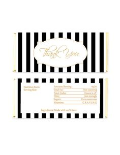 Striped Candy Bar Wrapper Gold Glitter Thank You by PapierCouture1