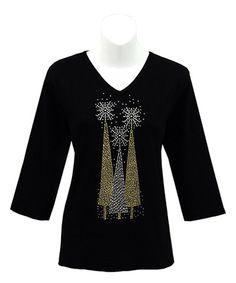 Black & Gold Christmas Tree V-Neck Top by Tia Designs #zulily #zulilyfinds