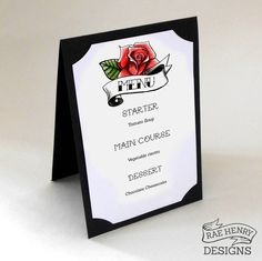 Rockabilly wedding menu with rose design. Tattoo, rock n roll wedding stationery by Rae Henry