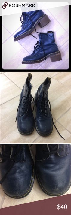 """Dr. Martens Clemency Boots - Navy Blue These boots are so awesome, but are unfortunately too narrow for me so I have to reposh :(...so sad!! Good preloved, broken-in condition with tons and tons of life to live. Squared-off toe design gives them a unique, vintage feel. Size 9 (UK 7). Navy blue. Heel height is approx 2.5"""". Dr. Martens Shoes Combat & Moto Boots"""