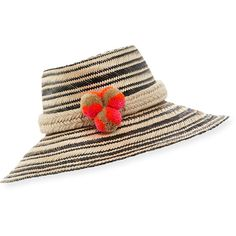 Guanabana Handmade Guajiro Striped Mawisa Sun Hat (1,035 CNY) ❤ liked on Polyvore featuring accessories, hats, black patterned, palm leaf hats, beach hat, brimmed hat, band hats and roll up sun hat