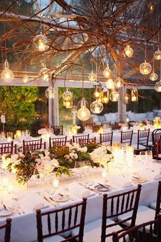 The tree overhang… A gorgeous look for a Summer wedding evening under the lights. So romantic