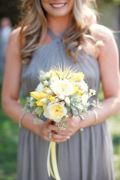 Gray J.Crew Bridesmaids with soft yellow flowers & succulents for greens. See more on #smp here: http://www.StyleMePretty.com/california-weddings/2014/05/13/stunning-napa-wedding-at-chardonnay-golf-club/ Photography: KStonePhoto.com