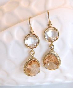 Gold Peach Earrings Clear Quartz  Crystal Coral by LoveShineBridal, $35.00...love these
