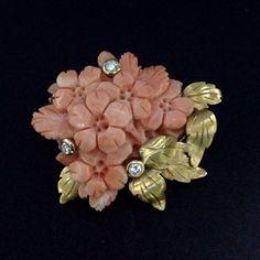 Antique Art Deco 18 K Gold Diamond Coral Brooch.