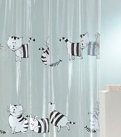 Wonder if the hubby would okay this? Cat Shower Curtain, Shower Curtains, Bathroom Things, Cats, Purpose, Inspiration, Inspired, Home, Decor