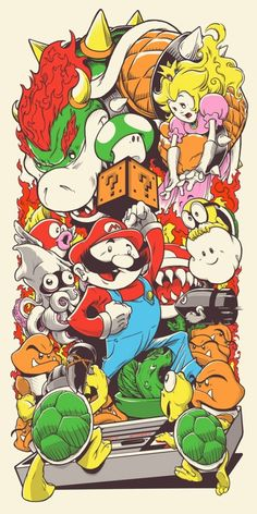 """Super Mario Bros."" – In the Garage Group Show – Screen Prints by Joshua Budich"