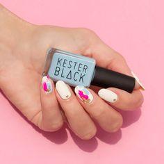 Summer Nails    Japanese nail art using kester black barbie and Kester Black Cumulus