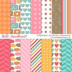 Digital Paper Pack - Hello Darling by pixeledpaper Papel Scrapbook, Journal Template, Free Digital Scrapbooking, Diy Supplies, Writing Paper, Baby Design, Digital Pattern, Pattern Paper, Background Patterns