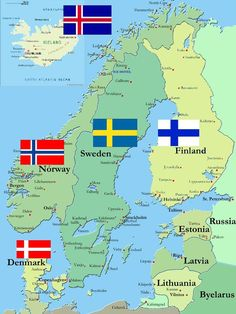 The 5 Scandinavian Countries. Iceland, Norway, Finland, Sweden and Denmark