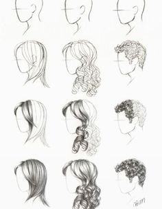 how to draw hair- yes please!!! :) More hair drawing stuff. #drawhair #drawinghair #drawing: