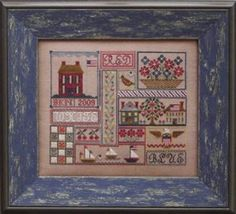 Patriotic Patchwork Cross Stitch. Segmented into compartments.