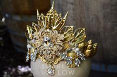 Mermaid crown - gold - siren - photoshoot - pageant - runway - mermaid costume - fantasy - cosplay - fashion.