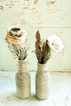 natural twine wrapped recycled bottle vases