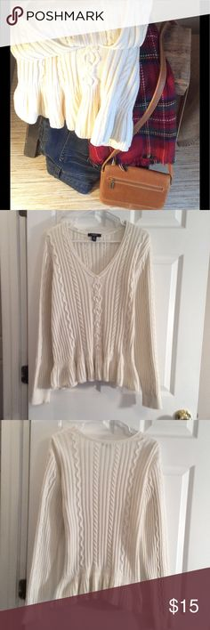 """AMAZING IVORY SWEATER. LIKE NEW! Ivory cable knit sweater with peplum hem. About 22""""across the chest, 27"""" length and about 27"""" sleeves. 100% cotton.  Great looking sweater! Chaps Sweaters"""