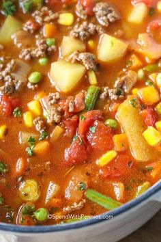 Hamburger Soup is a quick and easy meal loaded with vegetables, lean beef, diced tomatoes and potatoes. It's great made ahead of time, reheats well and freezes perfectly. #spendwithpennies #hamburgersoup #soup #maincourse #easysouprecipe #easyhamburgersouprecipe Hamburger Soup Crockpot, Hamburger Vegetable Soup, Homemade Vegetable Soups, Vegetable Soup Recipes, Crock Pot Soup, Homemade Soup, Hamburger Potato Soup, Cabbage Soup With Hamburger, Vegetable Soup With Noodles