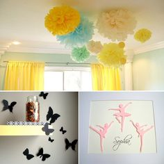Tissue paper pom poms for the ceiling: Merry Go Rounds' new book/play room?