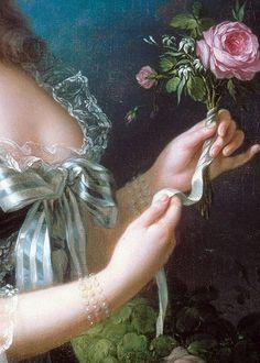 """Detalle de """" Maria Antonieta con la rosa"""" Marie Antoinette with the Rose, detail, by Elisabeth Vigee-Le Brun, 1783."""