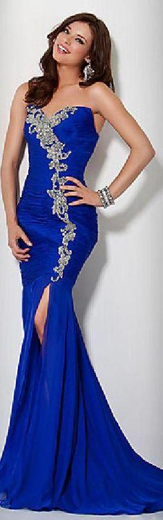 Elegant Royal Blue Mermaid Strapless Satin Natural Evening Dresses In Stock jijidresses10249bjytb #bluedress #longdress #promdress