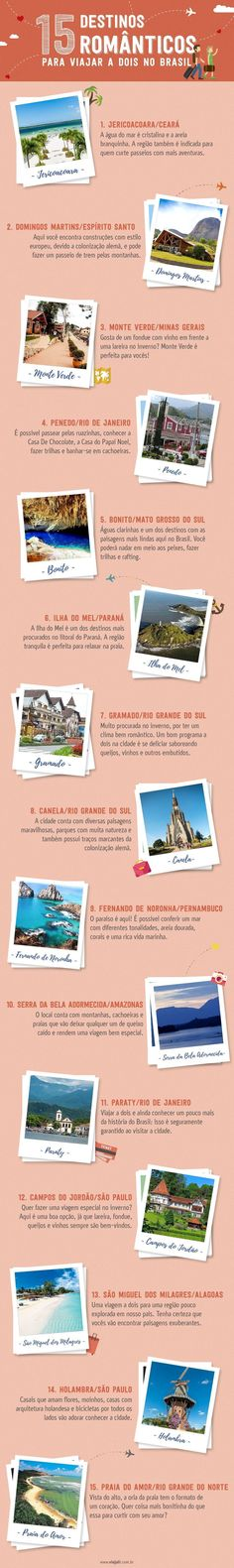 15 destinos românticos para viajar a dois no Brasil
