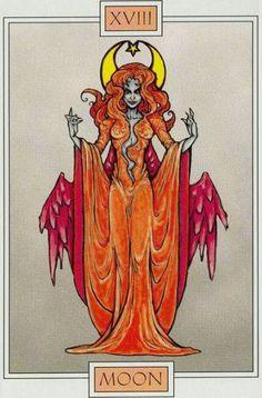 The Moon - Winged Spirit Tarot Major Arcana Cards, Tarot Major Arcana, Dario Fo, The Moon Tarot Card, Tarot Card Meanings, Cartomancy, Oracle Cards, Tarot Decks, Tarot Cards