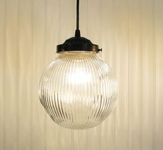 Cary's Mill . LARGE Clear Holophane PENDANT Light. $79.00, via Etsy.  over the sink