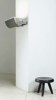 Le Corbusier; Steel and Plexiglass Wall Lamp from Unité d'Habitation in Firminly, 1965.