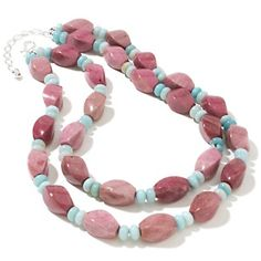 Jay King Ginger Flower Stone and Amazonite 2-Row Necklace at HSN.com.