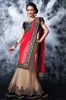 Show details for Pink & beige color designer lehenga style saree