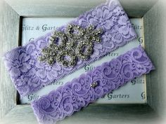 Wedding Garter Set - LAVENDER Lace SILVER Rhinestone Crest Show & Dual Stud Toss - other colors available on Etsy, $19.95