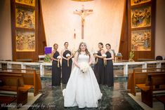 Bride Lourdes and her beautiful bridesmaids! :D Immaculate Conception Catholic Church and School  For all types of photoshoots visit us at:  www.WeddingPhotographyByLiam.com  #bride #church #bridesmaids