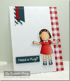 Sending Big Hugs stamp set and Die-namics, Gingham Background, Striped Backgrounds, Pierced Fishtail Flags STAX Die-namics, Large Polka Dots stencil - Barbara Anders #mftstamps