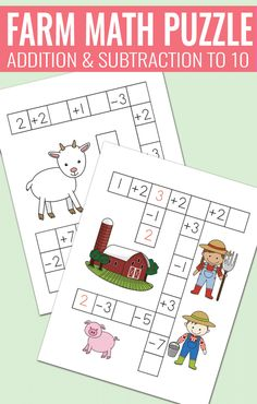 Farm Math Puzzles - Addition and Subtraction to 10 worksheets for kids