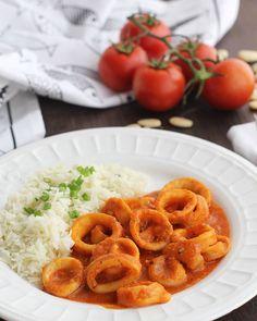 Calamares en salsa de almendras con arroz de guarnición - Cocinando Entre Olivos