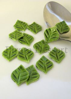 Sugar Leaves  Green Cupcake size Fondant Leaves by PirateDessert