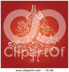 Royalty-Free (RF) Clipart Illustration of an Ornate White And Yellow Swirly Christmas Tree On Red by OnFocusMedia