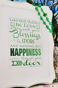 St. Patrick's Day Free Printable ~ Irish Blessing | FiveHeartHome.com  - -  there's also a three leaf clover design