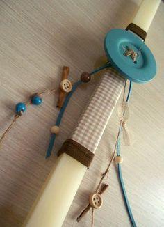 Λαμπάδες Button Art, Button Crafts, Diy And Crafts, Arts And Crafts, Spring Crafts, Easter Crafts, Candle Holders, Wax, Candles