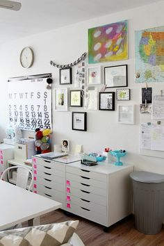 perfect white, clean and streamlined craft space