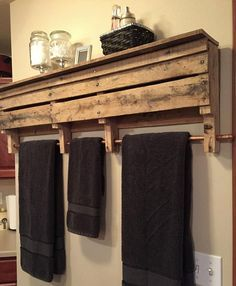 Rustic Wood Pallet Furniture Copper Rod Towel Rack Bathroom Shelf Wall Shelf…