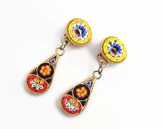 Vintage micro mosaic clip on earrings with flowers, multi-colored, dangle earrings by CardCurios on Etsy Vintage Rhinestone, Vintage Earrings, Clip On Earrings, Dangle Earrings, Mosaic Patterns, Painting Patterns, Multi Colored Flowers, Orange Art, Dangles