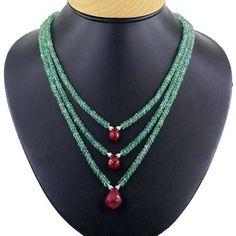Three Row Emerald Necklace With Ruby Drops,Wedding #jewelry #necklace @EtsyMktgTool #beadswholesale #largediamonds #rubynecklace